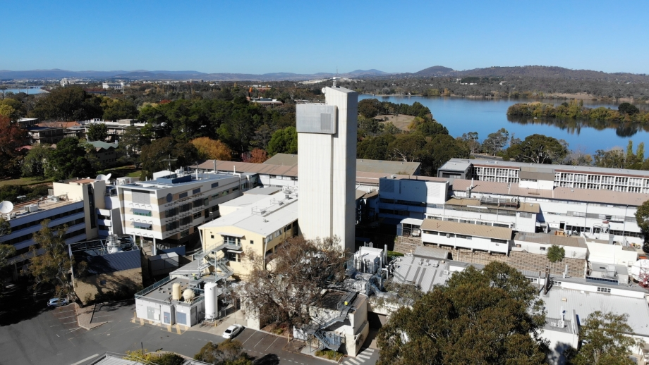 HIAF tower at the Research School of Physics at the ANU Acton campus. [Image Credit: Yoshio Hinde]